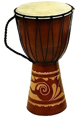 Deco 79 89847 Wood Leather Djembe Drum